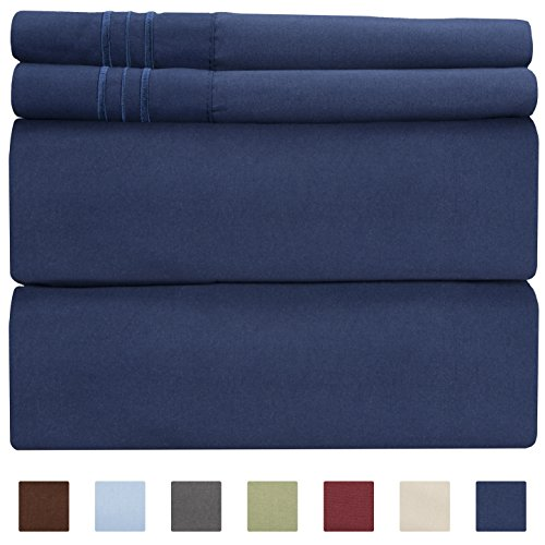 California King Size Sheet Set - 4 Piece - Hotel Luxury Bed Sheets - Extra Soft - Deep Pockets - Easy Fit - Breathable & Cooling - Wrinkle Free - Comfy – Navy Blue - Cali Kings Royal Sheets