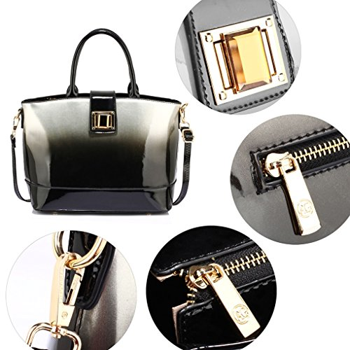 Silver Shoulder Tote Two LeahWard 329 Handbag Patent Women For Bags Ladies Tone Nice Bag UaAwAqOn