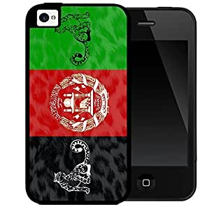 Afghanistan Animal Flag Black Red and Green Grunge Pattern 2-Piece High Impact Dual Layer Black Silicone Cell Phone Case iPhone i5 5s