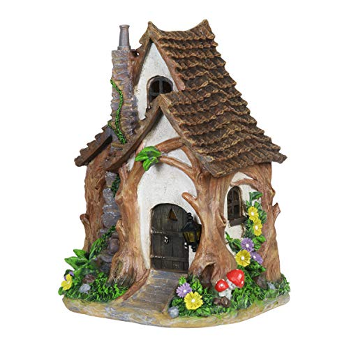 Exhart Solar Tree Trunk Fairy House Garden Statue - Mini Tree Trunk Fairy Cottage Resin Statue with Solar Accent Lighting - Hand-Painted Tree Trunk Resin Fairy Hut for a Fantasy Garden, 11