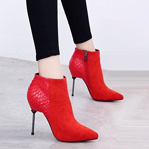 KHSKX-Botas De Tacon Alto De Las Mujeres Serpiente Costura Señaló El Otoño Y El Invierno Con Botas Botas De Metal Delgado Martin gules