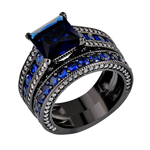 JunXin Two Pieces Black Gold Bridal Wedding Set Princess Cut Sapphire Blue Main Stone Size5-11