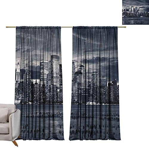 Curtain Panels City,Dramatic View of New York Skyline from Jersey Side Clouds Buildings, Charcoal Grey Black White W84 x L108 Grommet Curtain for Bedroom