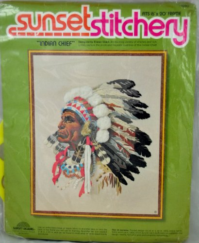 Vintage 1977 Sunset Designs Stitchery Indian Chief Crewel Embroidery Kit