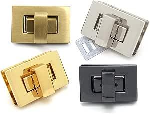 "CRAFTMEmore 2sets 1-1/8"" Rectangle Turn Lock Clasp Purse Closure Twist Lock Leathercraft Accessory Purse Lock (Brushed Gold (Bronze))"