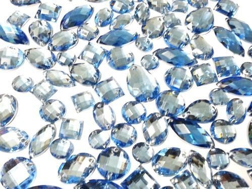 CraftbuddyUS 80 Light Blue Faceted Acrylic Sew On, Stick on Diamante Crystal Rhinestone Gems]()