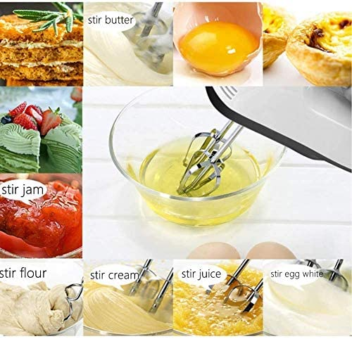 Electric Hand Mixer, Lightweight Leak-Proof Stainless Steel 7 Speed Egg Mixer with Turbo, Cord & Attachments Storage Function and Mixer, Dough Hooks