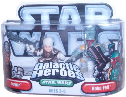 Star Wars Galactic Heroes Mini Action Figure - Dengar with Blaster Rifle and Boba Fett with Blaster (Galactic Heroes Bounty Hunters)