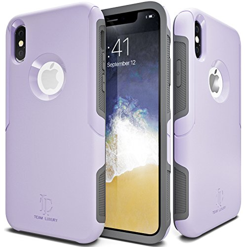 TEAM LUXURY iPhone X Case/iPhone Xs Case [Defense-x Series] Dura Layer Shock Absorbing Technology Protective Phone Case - for Apple iPhone X/Xs 5.8 Inch (Lavender)