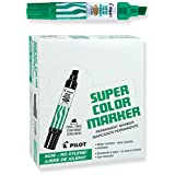Pilot Super Color Jumbo Permanent Markers, Extra Wide Chisel Point, Xylene-Free, Green Ink, Dozen Box (45400)