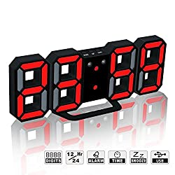 LED Digital Alarm Clock For Desk / Shelf / Tabletop, Modern Home Decoration 3D Wall Clock, Easy To Read at Night, Loud Alarm and Snooze, Big Digit Display (Black Frame, Red Light)