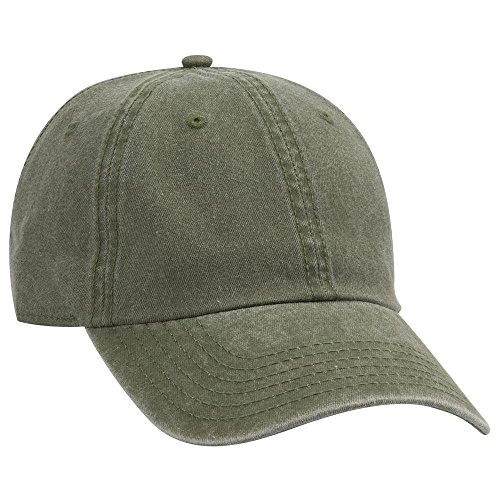- Product of Ottocap Garment Washed Pigment Dyed Cotton Twill Six Panel Low Profile Dad Hat -Ol. Green [Wholesale Price on Bulk]