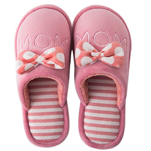 GESIMEI Ladies Mule Slippers Shoes Winter Warm Plush Slippers Indoor Non-Slip Floor Slippers Men Women Red