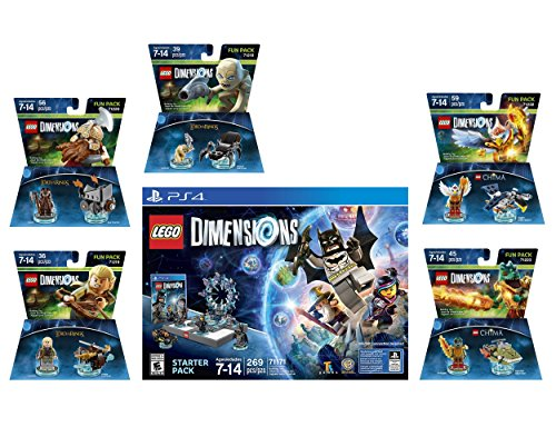 Lego Dimensions Starter Pack + Lord Of The Rings Legolas Gimli Gollum + Legend Of Chima Eris and Cragger Fun Packs Playstation 4 PS4 (Lego Chima Starter Set)