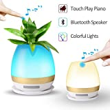 Table Lamp Night Light Bluetooth Speaker Waterproof Wireless Portable/Magic Flower Plant Pot Touch Play Piano Music/Touch Light for Kids Bedside Bedroom Nightstand Room Decoration Birthday Gift