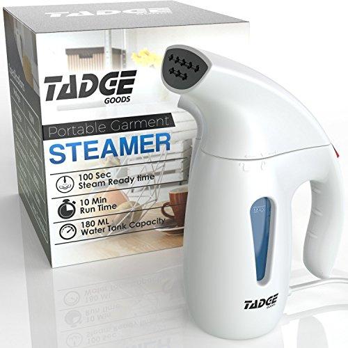Tadge Goods Travel Steamer for Clothes Wrinkle Remover – 180ml Portable Hand Held Vapor Iron Garment Steamer –...
