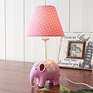 Hines Simple European Boy Girl Children'S Room Bedside Bedside Table Lamp Pastoral American Small Elephant Resin Table Light Pink Flax Cloth Lampshade E27 Desk Lamp (Size : A)