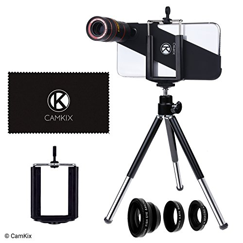Lens Kit for Apple iPhone X - 8x Telephoto Lens, Fisheye Lens, Macro Lens, Wide Angle Lens, Tripod, Phone Holder, Lens Holder Ring, Phone Hard Case, Bag and Cleaning Cloth from CamKix