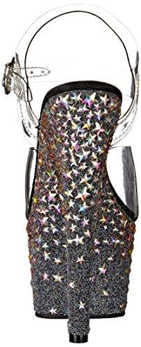 Pleaser - Zapatos de vestir de material sintético para mujer Clr/Blk (Slv Hologram Stars)