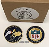 American Football Team Challenge Coin Minnesota Vikings Poker Card Marker Collectible plus display case, and a Free Sticker by Lucky Donk