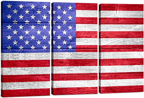 - American Flag Canvas Wall Art Decor - 3 Piece Set - Large Decorative Multi Panel Split Prints - Rustic Wood Look for Dining & Living Room, Kitchen, Bedroom & Office (2840 - American Flag, 24x36)