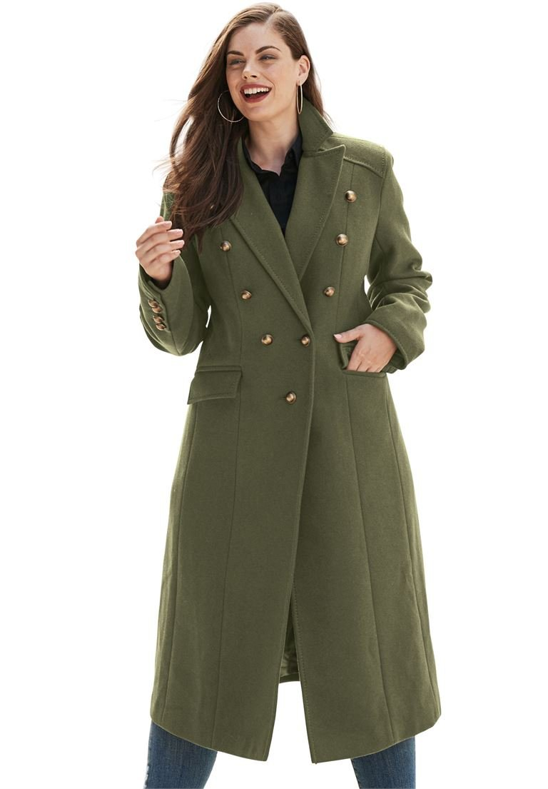 Roamans Women's Plus Size Long Regal Coat Dark Olive Green,22 W