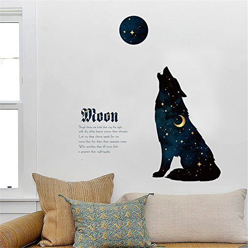 Wall Sticker Clearance , Cartoon Starry Night Wolf Decal Family Home Decor Art Quotes Murals Wall Stickers