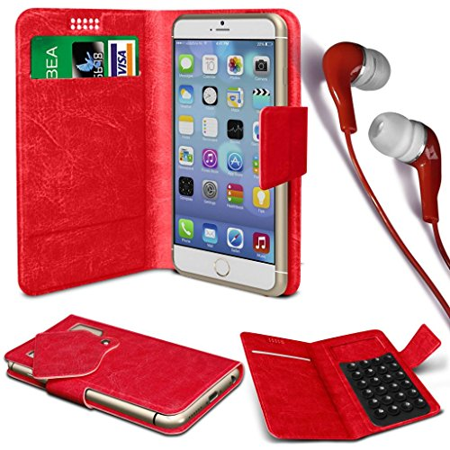 N4U Online® - Apple iPhone 4s PU aspiration étui en cuir Wallet Pad Cover & 3,5 mm stéréo intra-auriculaires - Rouge