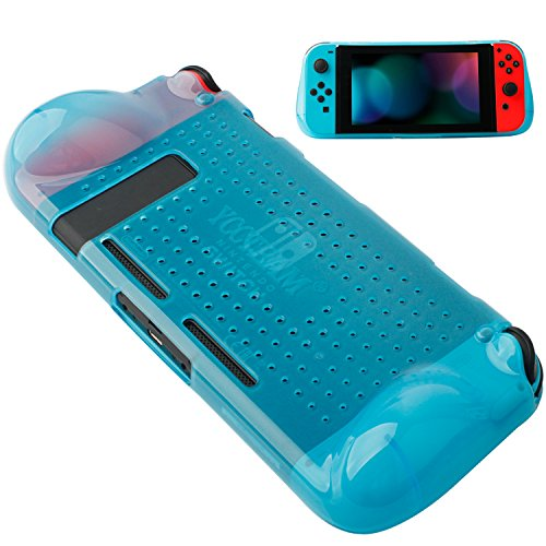 Protective Case Compatible with Nintendo Switch 2018,Grip Cover Case with Shock-Absorption and Anti-Scratch Design Soft & Comfortable TPU Case for Nintendo Switch Console (Blue)