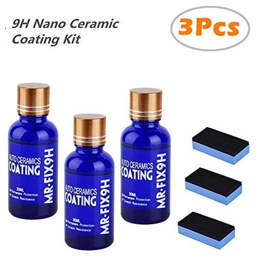 Blue Net Car Ceramic Coating 9h Car Ceramic Coating Kit Anti Scratch Car Polish Car High Gloss Ceramic Coat Auto Detailing Glass Coat Care Super Hydrophobic Glass Coating 30ml 3pcs