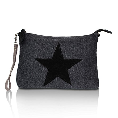 Glamexx24 Borsa da Donna Borsetta a tracolla e a spalla con stella Nero 2