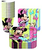 Disney Minnie Mouse Bows Party Supplies Pack Including Plates, Cups and Napkins- 16 Guest