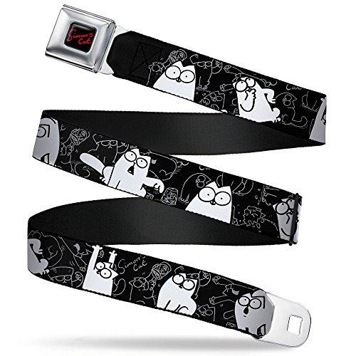 Buckle-Down Seatbelt Belt - Simon's Cat Poses/Sketch Poses Black/Gray/White - 1.0