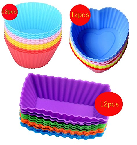 Cutequeen 36pcs (12pcs Heart-shaped;12pcs Rectangular and 12pcs Round) Silicone Baking Cups / Cupcake Liners - in Storage Container - Never Buy Paper Cups Again(pack of (Halloween Cupcake Recipes For Kids)