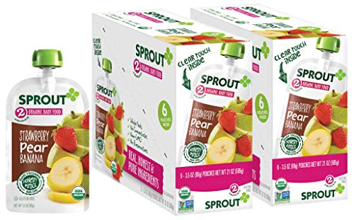 Sprout Organic Baby Food Pouches Stage 2 Sprout Baby Food, Strawberry Pear Banana, 3.5 Ounce (Pack of 12); USDA Organic, Non-GMO, Made with Whole Foods, No Preservatives, Nothing Artificial