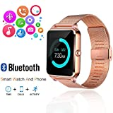 Smart Watch, GEEKERA Bluetooth Watch Wristwatch Phone with SIM Card Slot / Touch Screen / Camera for iPhone 6s/6 Plus/5s/5c/4 and Android Samsung Galaxy 6/5/4 Note 4/3/2 Sony HTC LG Huawei (Gold)