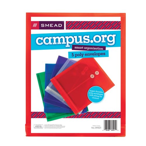 Smead Campus.org Poly Envelope, Letter Size, 5 per Pack, Ass