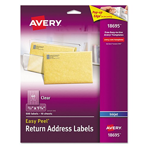 Avery 18695 Clear Easy Peel Return Address Labels, Inkjet, 2/3 x 1-3/4, 600/PK Avery Dennison Peel