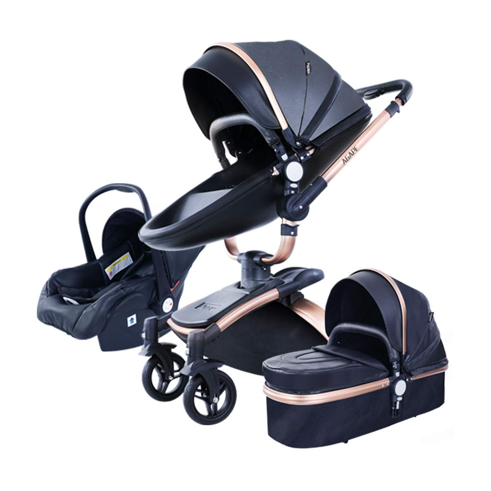 3 in 1 Baby Strollers Safety 2 in 1 Baby Strollers with car seat Leather Aluminium Alloy Frame Black Gold with Independent Sleeping Basket (Black)