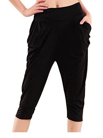 136842592a7 Women s Casual Elastic Waist Plus Size Stretch Keen Length Harem Pants Black  Tag M-US