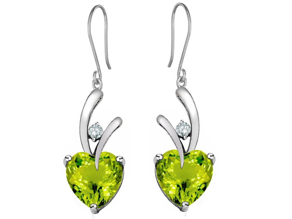 Star K 8mm Heart Shape Simulated Peridot and Cubic Zirconia Hanging Hook Love Earrings Sterling Silver