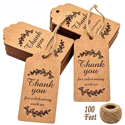 Paper Gift Tags Thank You for Celebrating with Us, Whaline 100 Pcs Paper Hang Tag for Wedding and Valentines Party Favors, Baby Shower with 100 Feet Natural Jute Twine (Leaves Brown) -