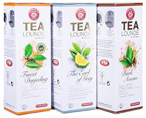 Teekanne Tealounge Kapseln - Schwarztee Sortiment mit 3 Sorten (24 Kapseln)