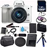 6Ave Canon EOS M50 Mirrorless Digital Camera with 15-45mm Lens (Silver) (International Model) + LP-E12 Replacement Lithium Ion Battery + 128GB SDXC Class 10 Memory Card Bundle