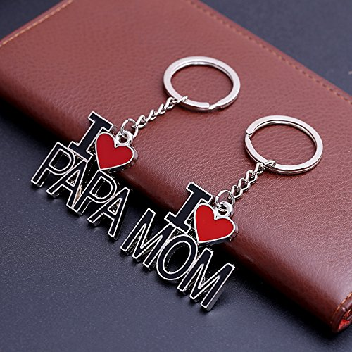 #1 Leisial Llaveros Acero Inoxidable I Love MOM Regalo D/ía del Padre D/ía de San Valent/ín Cumplea/ños Aniversario de Boda