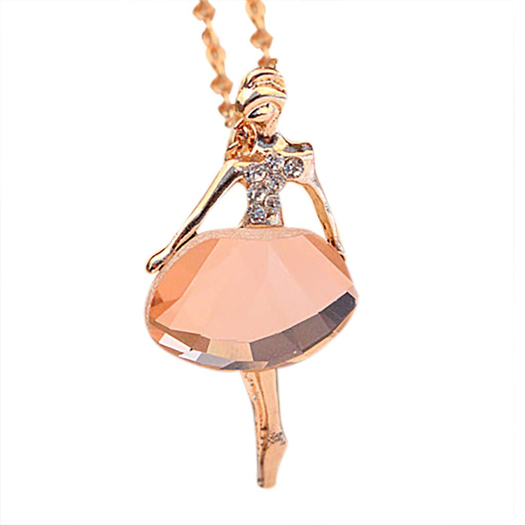 Oillian Women Creative Romantic Jewelry Ballet Girl Commemorate Chain Crystal Drill Sweater Necklace Gift for Lady Girls Friends (PK)
