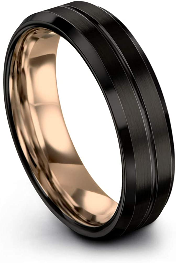 Midnight Rose Collection Tungsten Wedding Band Ring 6mm for Men Women 18k Rose Yellow Gold Plated Bevel Edge Black Brushed Polished