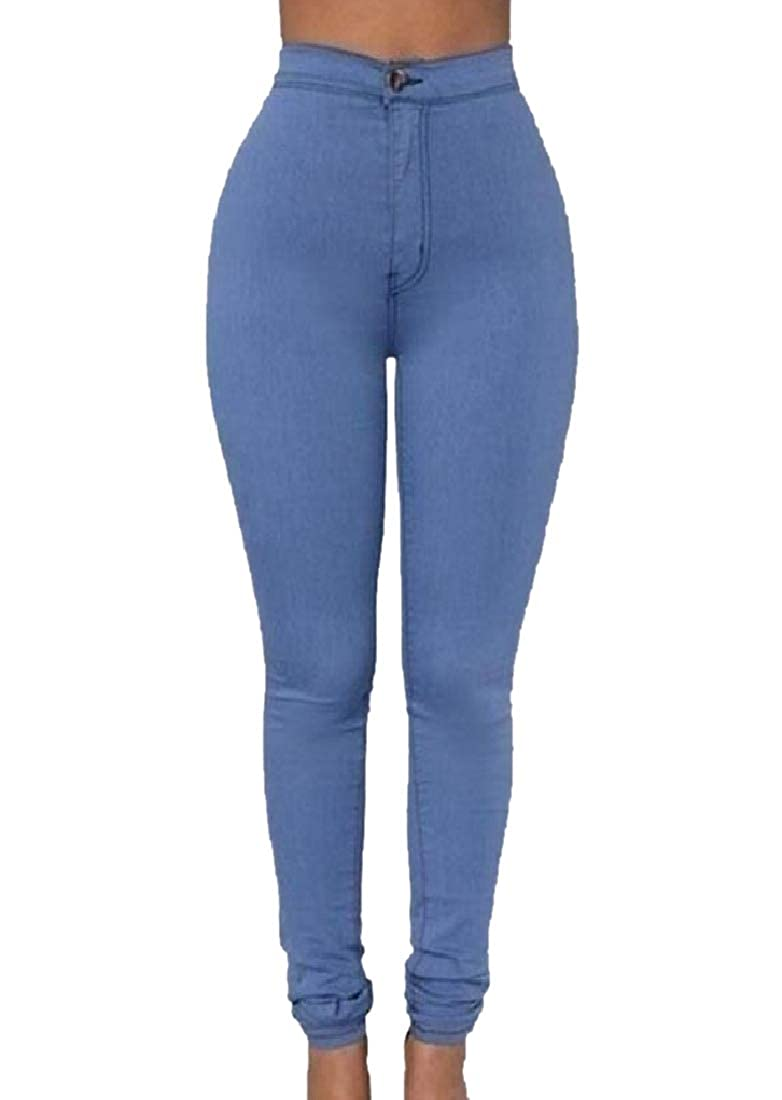 Winwinus Womens Bodycon Regular Long Pants High Waist Slim Pencil Jeans