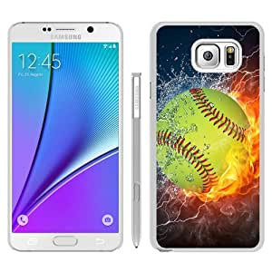 Cheap Abstract Samsung Galaxy Note 5 Case,Softball Fire and Ice 1 White New Custom Design Samsung Galaxy Note 5 Cover Case