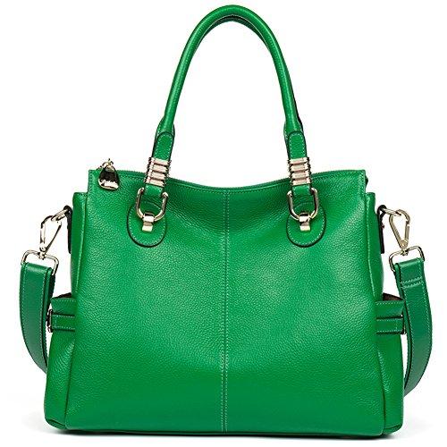 BOSTANTEN Leather Handbag Designer Purses Tote Shoulder Crossbody Bag for Women Kelly Green (Leather Kelly Purse Handbag)